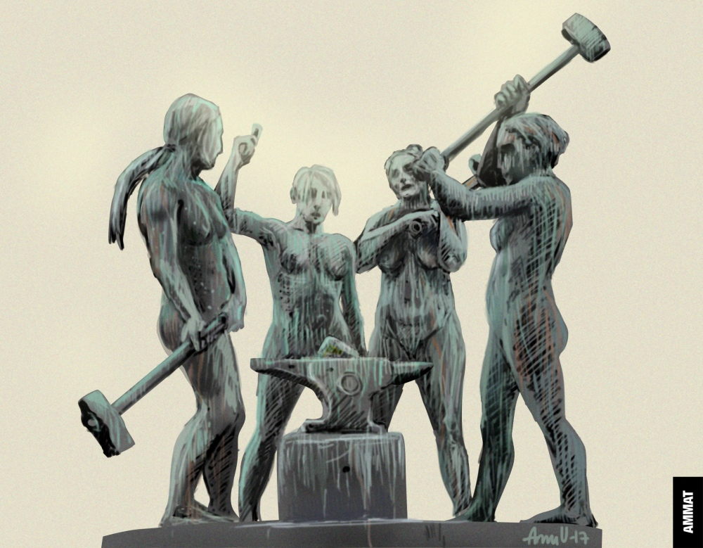 Neljä naisseppää. Kuva: Anu Välitalo